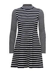 PEONY DRESS, L - PEACOAT / SNOW WHITE
