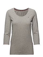 LIZZY SCOOP NK TOP 3 - LIGHT GREY HTR