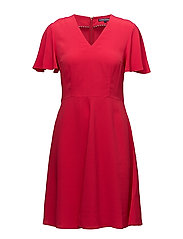 MIA FLARE DRESS SS, - CRIMSON