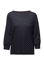 ANNIE BOAT NK TOP 3/ - TINY DOUBLE DOT PRT / PEACOAT