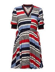 KAYLEE V-NK DRESS 1/ - SPEED PATCHWORK STP / BLACK BE
