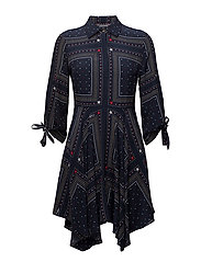 HOGGAN DRESS 3/4 SLV - PATCHWORK BANDANA PRT / NAVY B