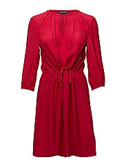 HAREN DRESS 3/4 SLV, - CRIMSON