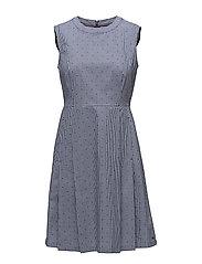 MARINA F&F DRESS NS - STAR GINGHAM DOBBY / PEACOAT