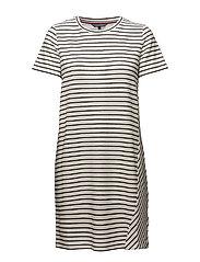 BRENNA C-NK DRESS 1/ - MIDNIGHT /CLASSIC WHITE STP