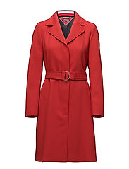CARLY VISCOSE BLEND COAT - POMPEIAN RED