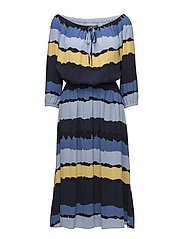 RACHEL MIDI DRESS 3/4 SLV - TIE DYE STP / SKY CAPTAIN
