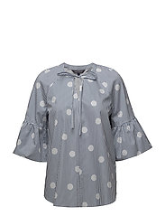 HAYETTE BLOUSE SS, 1 - OVERSIZED OVERPRINTED POLKA DO