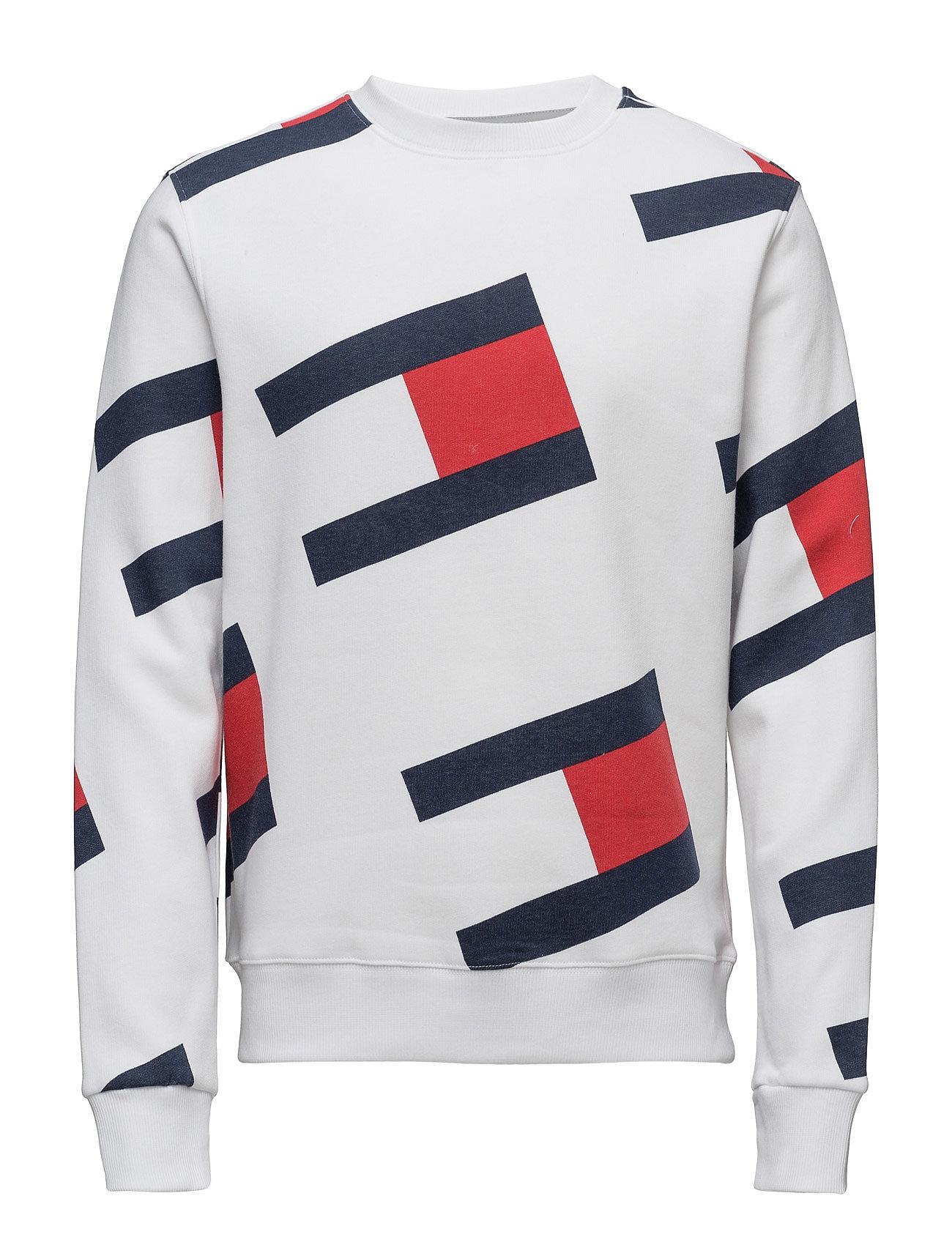 Tjm 90s Flag Aop Cn Hknit L/S M8 Tommy Jeans Striktrøjer til Mænd i hvid
