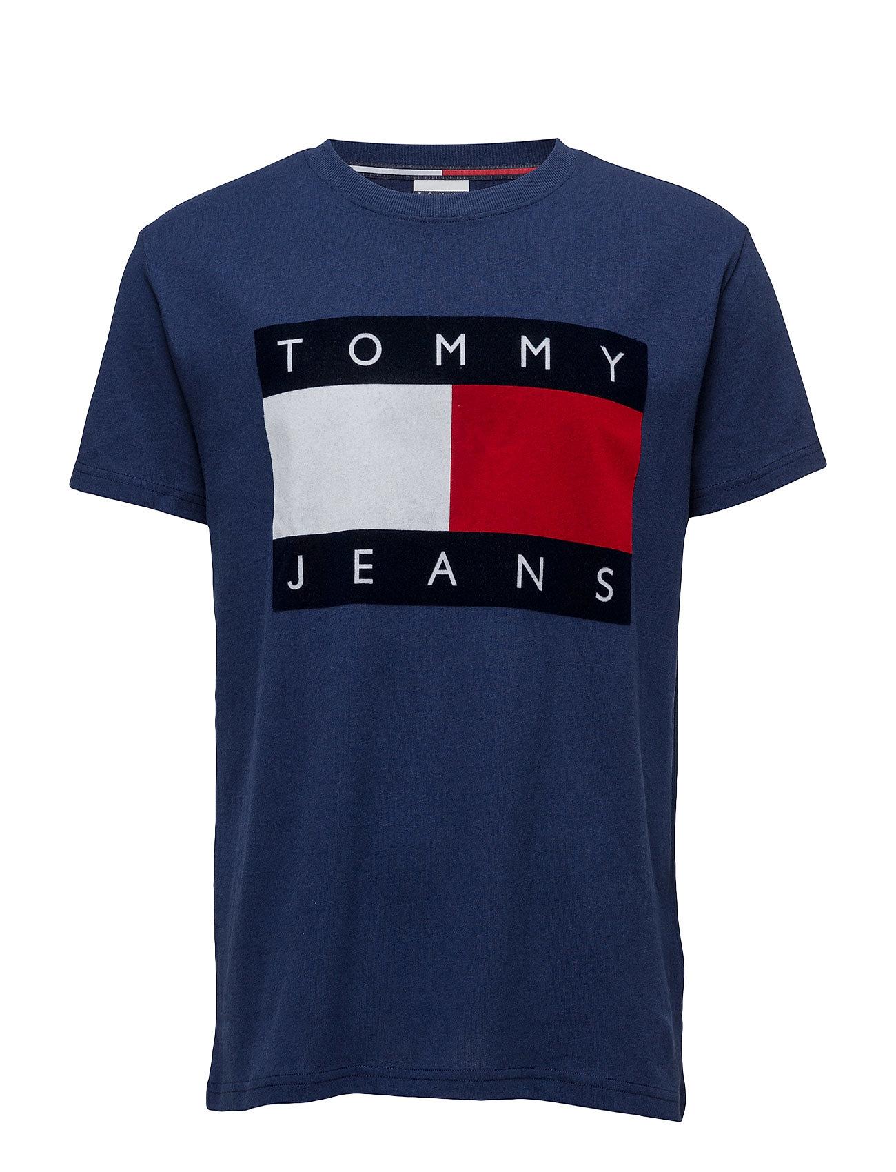 Tjm 90s Flock T-Shirt S/S M1 Tommy Jeans Kortærmede til Herrer i Blå