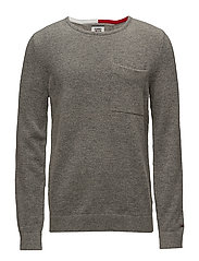 TJM WOOL PKT SWEATER - LT GREY HTR