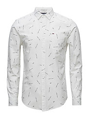 TJM PRINTED OXFORD SHIRT - CLASSIC WHITE
