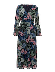 TJW WRAP MAXI DRESS, - BOTANICAL PRINT
