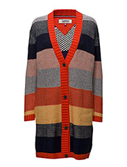 TJW STP CARDIGAN L/S - SPICY ORANGE / MULTI