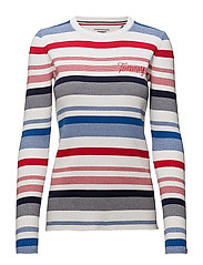 TJW STRIPE RIB SWEAT - BRIGHT WHITE / MULTI