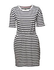 TJW STRIPE TEE DRESS - BLACK IRIS / BRIGHT WHITE
