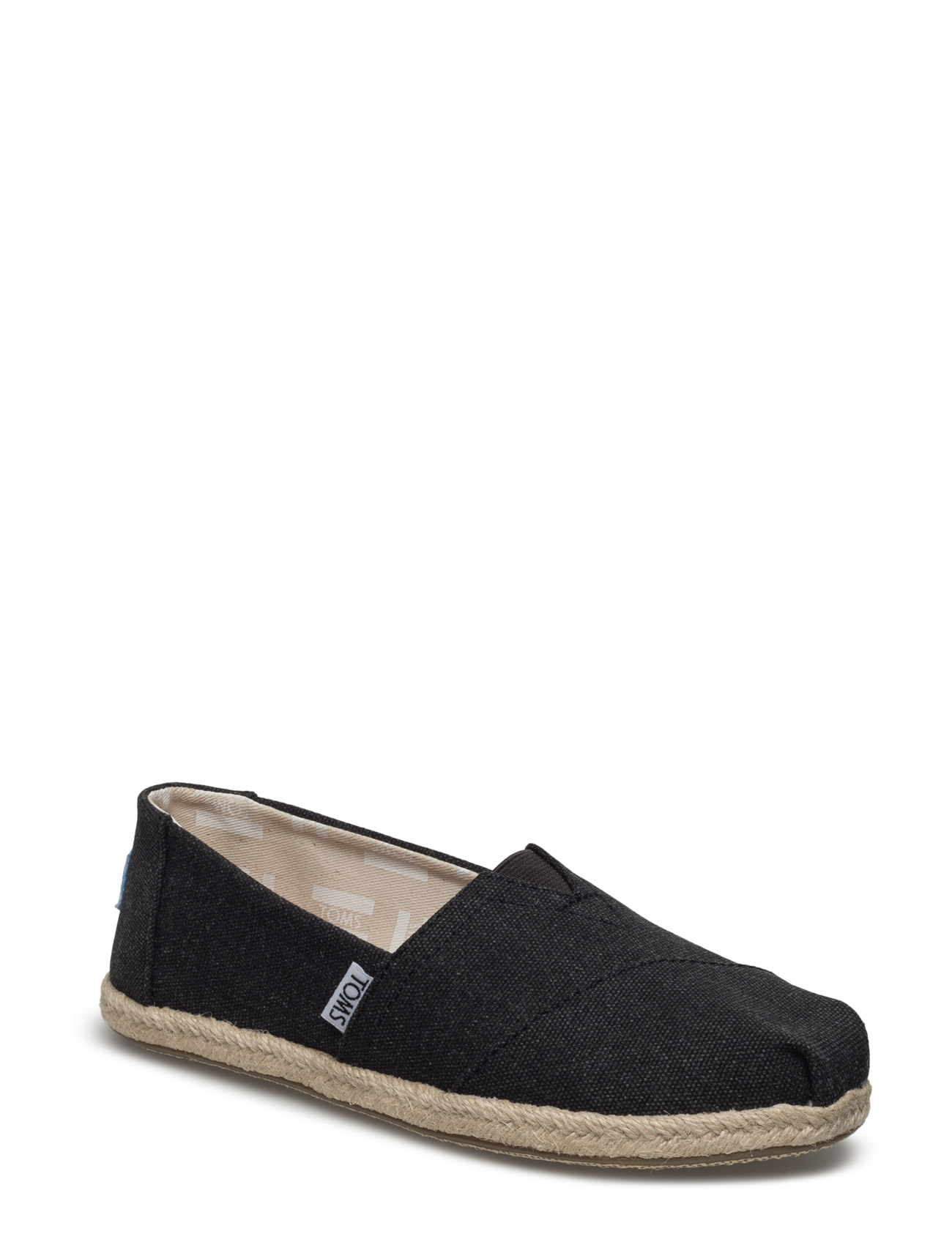 Black Washed Canvas Rope S Alpargata TOMS Espadrillos