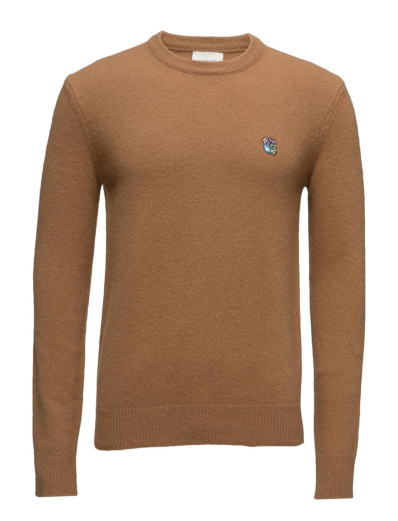 Regular Fit Sweater With Embroidered Logo Tonsure Rundhalsede til Herrer i Kamel