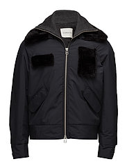 Bomber with detachable fur collar and patches - DARK NAVY
