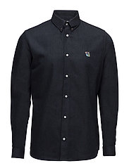 Regular shirt with embroidered logo - INDIGO BLUE