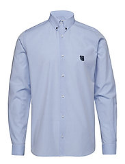 Regular shirt with embroidered logo - LIGHT BLUE
