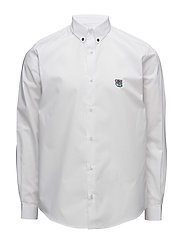 Regular shirt with embroidered logo - WHITE