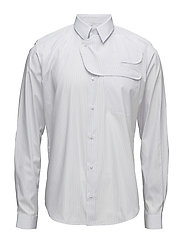Slim fit shirt with patch detail - WHITE WITH BLUE STRIPE