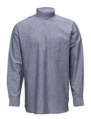Collar stand shirt with zipper detail - CHAMBRAY