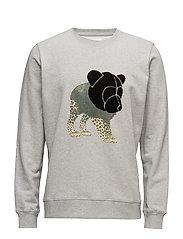 Sweatshirt with chenille teddy head on print - GREY MéLANGE
