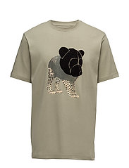 Tee with chenille teddy head on print - GREEN OLIVE