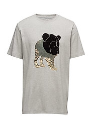 Tee with chenille teddy head on print - GREY