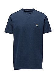 Tee with raw edge neck and embroidered teddy logo - INDIGO