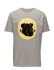 Tee with chenille teddy head on print - GREY MELANGE