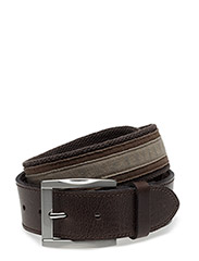 MENS BELT TEXTILE  40MM, DARK-BROWN - DARK-BROWN