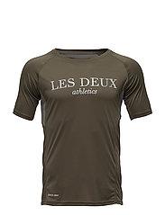 Les Deux Athletics T-shirt - MOSS GREEN/LIGHT GREY