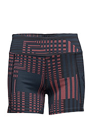 Be Running Shorts - NAVY SQUARE PRINT