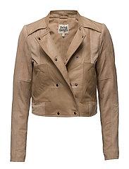 Paula Leather Jacket - NUDE
