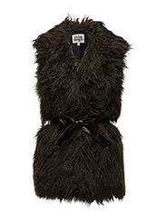 Alva Faux Fur Vest - DEEP KHAKI
