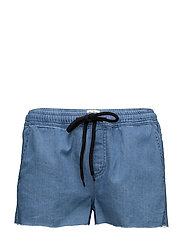 Faye Denim Shorts - MID BLUE DENIM