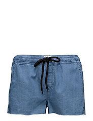 Faye Denim Shorts - MID BLUE DENIM