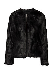 Viola Faux Fur Jacket - JACKET BLACK