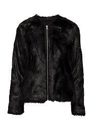 Viola Faux Fur Jacket - JACKET BLACK