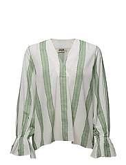 Natalia Blouse - GREEN STRIPE