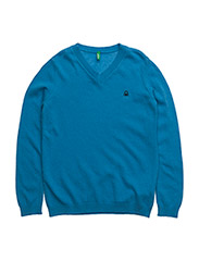 V NECK SWEATER L/S - BLUE