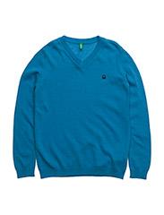 V NECK SWEATER L/S - BLUE
