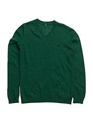 V NECK SWEATER L/S - GREEN