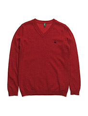 V NECK SWEATER L/S - RED
