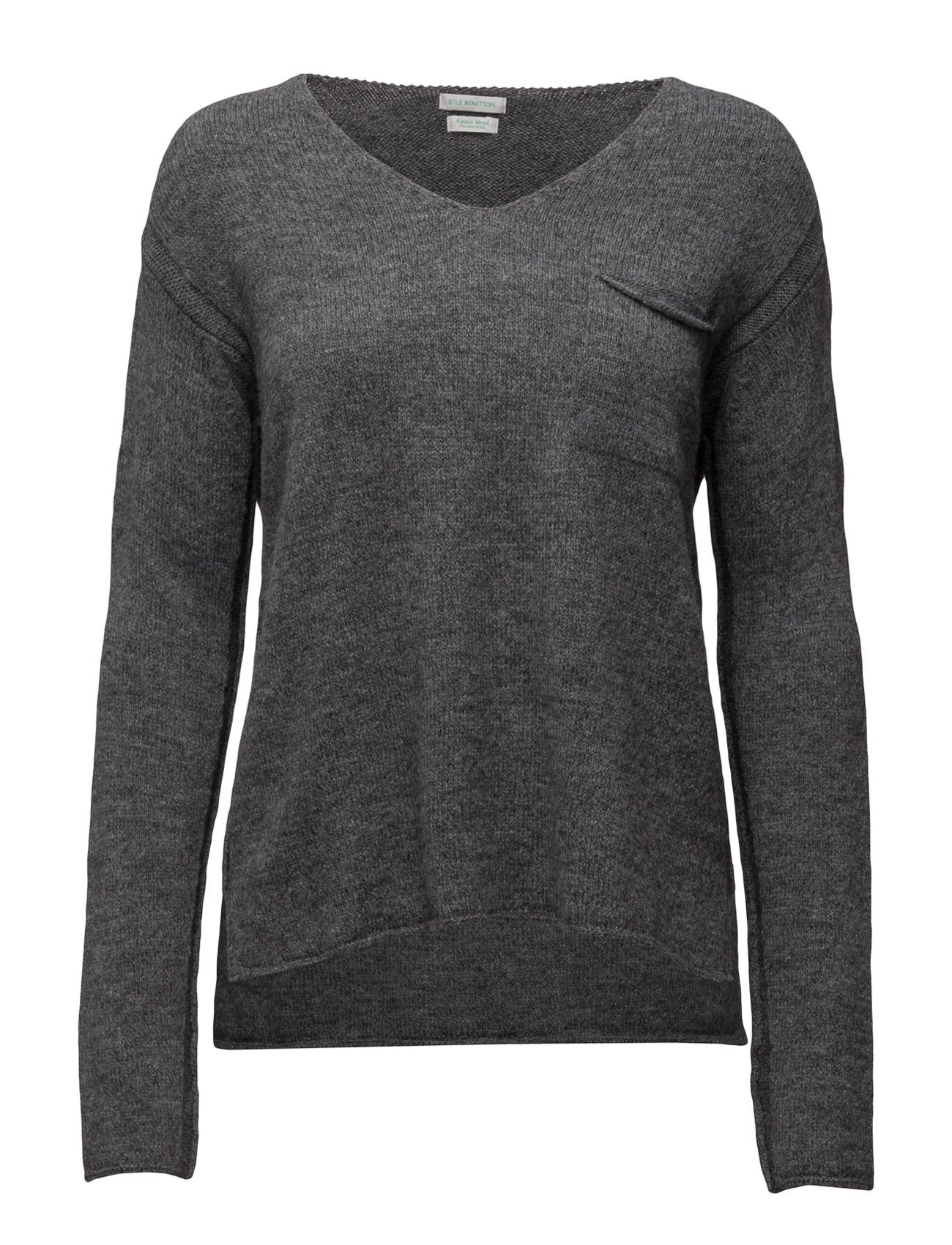 V Neck Sweater L/S United Colors of Benetton Striktøj til Kvinder i