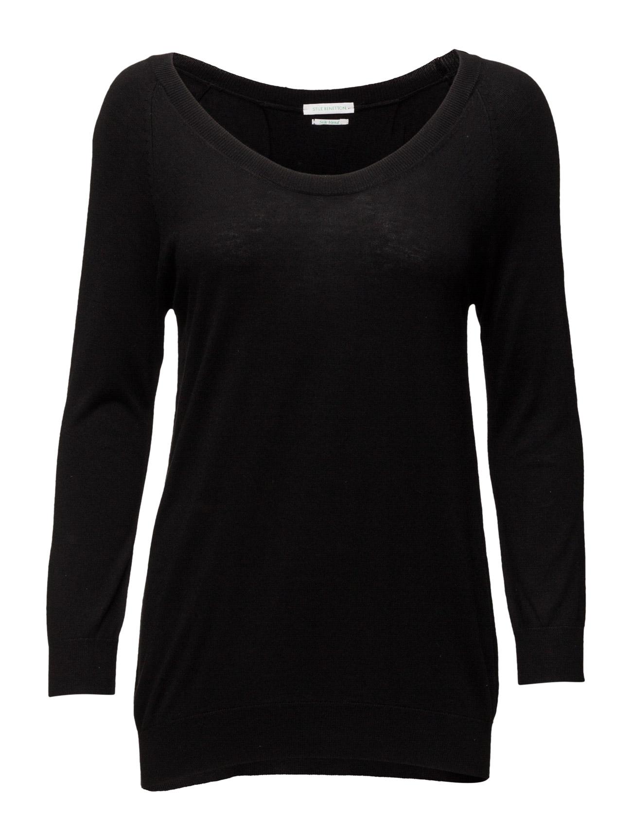 V Neck Sweater L/S United Colors of Benetton Sweatshirts til Damer i Sort