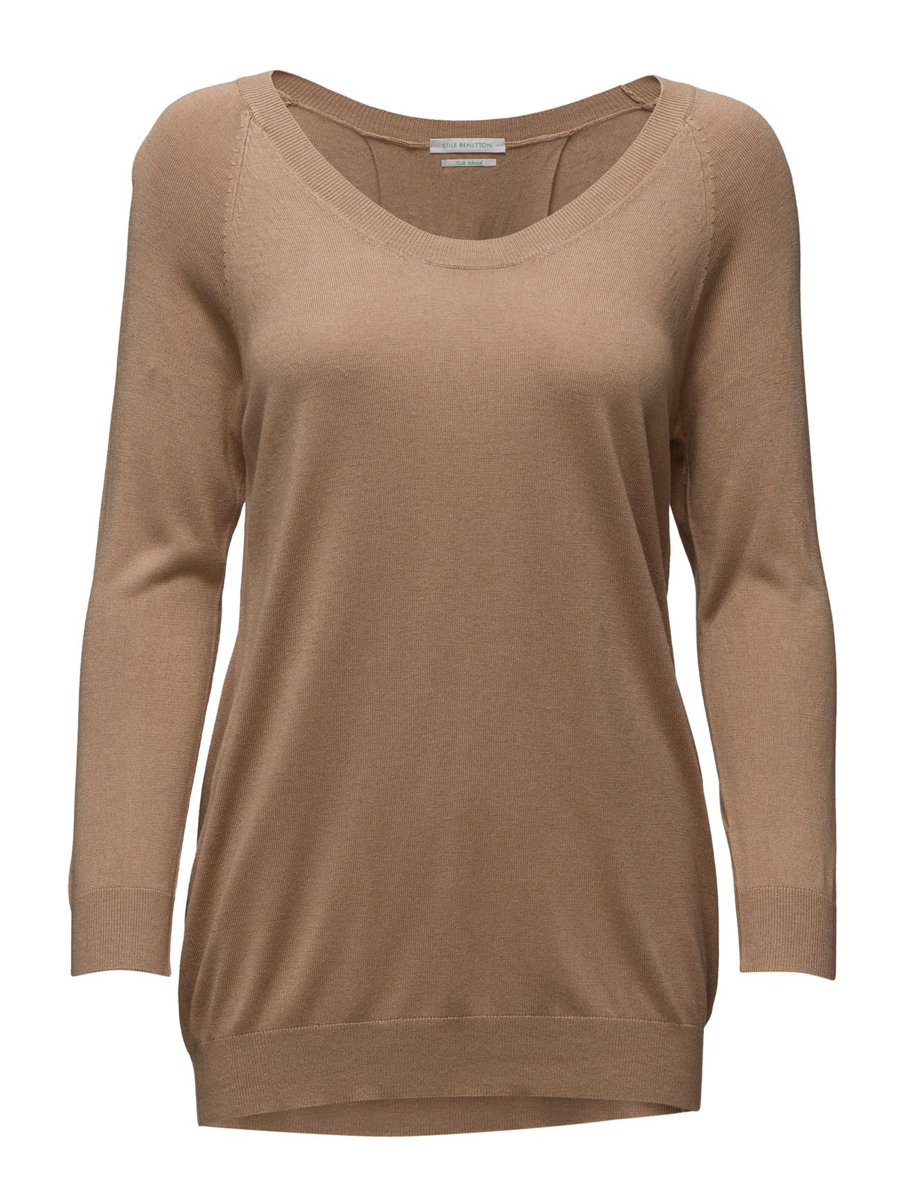 V Neck Sweater L/S United Colors of Benetton Sweatshirts til Kvinder i Sort